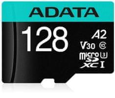 A-Data MicroSDXC 128GB U3 V30S + adaptér (AUSDX128GUI3V30SA2-RA1)