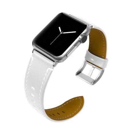 BStrap Apple Watch Leather Italy 38/40mm pašček, White