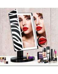 Bezdoteku Trípanelové kozmetické make-up zrkadlo s led osvetlením veľké ZEBRA