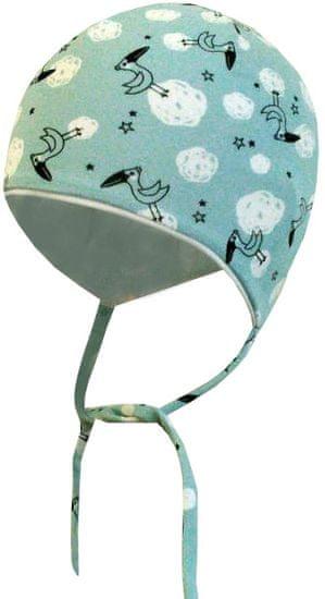 Yetty chlapecká čepice kojenecká zavazovací - čápi 39 - 41 modrá