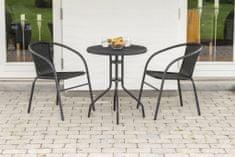 Importworld BISTRO balkónový set 2x židle +1x stůl - barva antracit, plně bezúdržbový