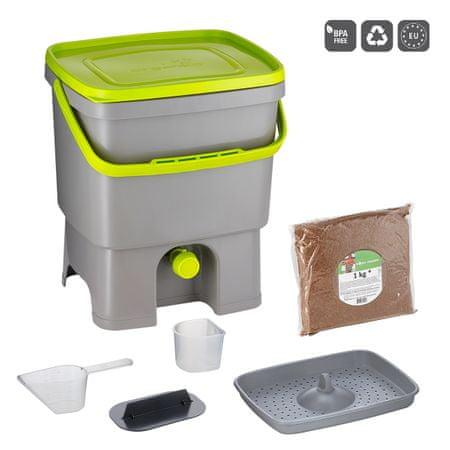 Skaza Bokashi Organko kompostnik, sivo-svetlo zelen, s posipom