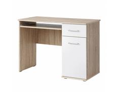 TEMPO KONDELA PC stůl EMIO Typ 6, dub sonoma/bílá
