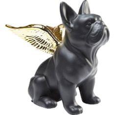 KARE Dekorativní Figurka Sitting Angel Dog - zlatočerný