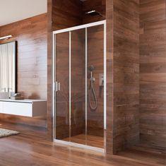 Mereo Sprchové dveře, Lima, trojdílné, zasunovací, 90x190 cm, chrom ALU, sklo Point (CK80622K)