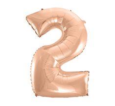 GoDan Fóliový balón číslo 2 - ružovo zlatá - 92 cm