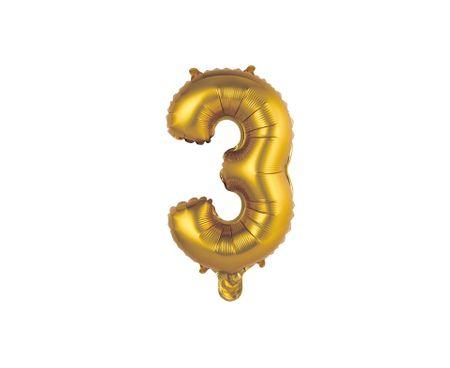 GoDan Folijski balon številka 3 malo - zlato mat - 35 cm
