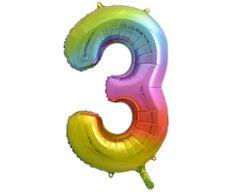 GoDan Fóliový balón číslo 3 - dúhová - 92 cm