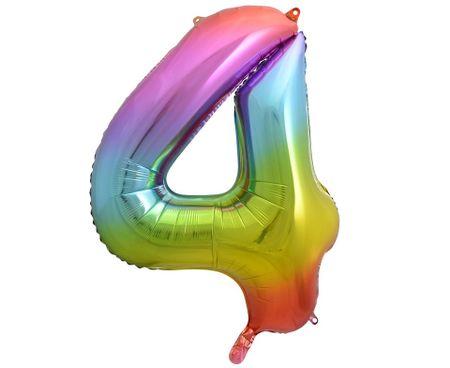 GoDan Folijski balon številka 4 - mavrična - 92 cm