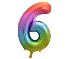 GoDan Fóliový balón číslo 6 - dúhová - 92 cm