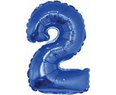 GoDan Fóliový balón číslo 2 malý - modrá - 35 cm
