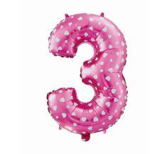 GoDan Fóliový balón číslo 3 so srdiečkami - ružová - 65 cm