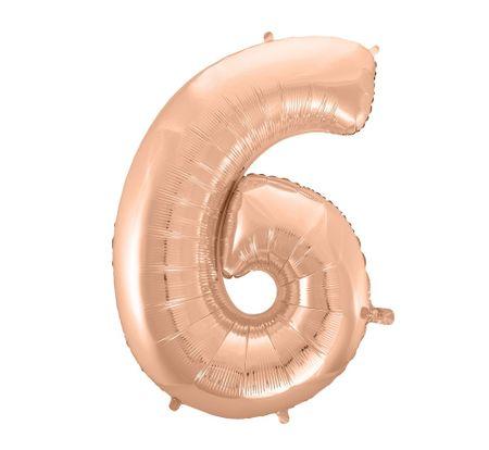 GoDan Balon foliowy cyfra 6 - różowe złoto - 92 cm