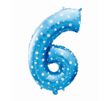 GoDan Folijski balon številka 6 z zvezdami - modra - 65 cm