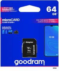 GoodRam spominska kartica microSD 64GB 100MB/s + SD adapter (500307)