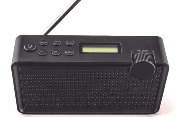 moderní radiopřijímač maxxo radio dab+/fm pb01 digitální rádio analogové rádio dab fm tuner 20 předvoleb li-ion baterie 8 h provozu síťové zapojení teleskopická anténa přenosné odolné certifikace aac+