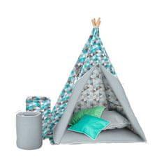 AKUKU Detský luxusný stan s výbavou Teepee Akuku tyrkysovo-sivý Modrá