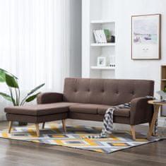shumee Rohová sedačka s textilním čalouněním 186 x 136 x 79 cm hnědá