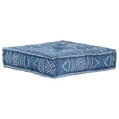Kwadratowy puf bawełniany ze wzorem, 50x50x12 cm, niebieski