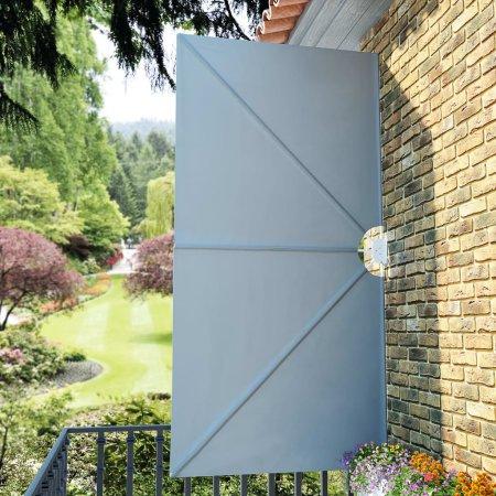 shumee Zložljivo stransko platno za teraso sivo 300x150 cm