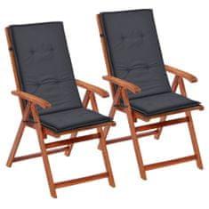 shumee 2 db antracit színű párna kerti székhez 120 x 50 x 3 cm