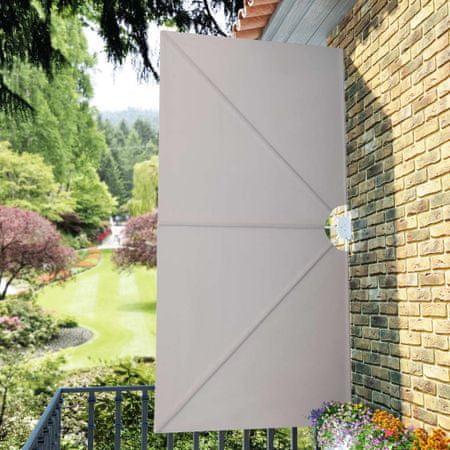 shumee Zložljivo stransko platno za teraso krem 300x150 cm