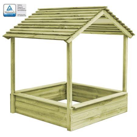 Ogrodowy domek do zabawy z piaskownicą, drewno sosnowe