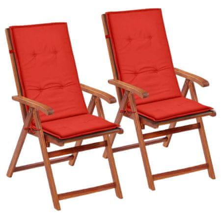 shumee Poduszki na krzesła ogrodowe, 2 szt., czerwone, 120x50x3 cm