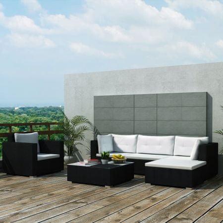 shumee 6-részes fekete polyrattan kerti bútorszett párnákkal