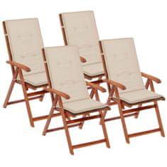 shumee Krémové sedáky na záhradné stoličky, 4 ks, 120x50x3 cm