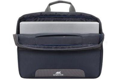 moderná taška na 17,3 notebook rivacase 7757 7757-sbg z vodoodolného materiálu 2 vnútorné priehradky na dokumenty tablet príslušenstvo predné vrecko na mobil duálny zips ramenný popruh nastaviteľný odnímateľný svetlo odrážajúce prvky