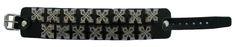 Bikersmode Náramek kožený dvouřadý kříže