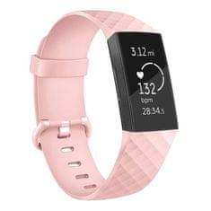BStrap Fitbit Charge 3 Silicone Diamond (Small) pašček, Sand Pink