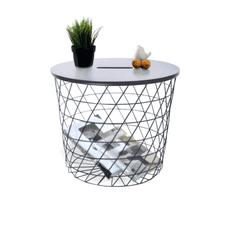 TEMPO KONDELA Príručný stolík, grafit/čierna, BATIS TYP 3