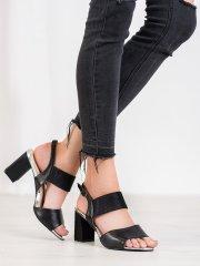 Vinceza Praktické černé sandály dámské na širokém podpatku