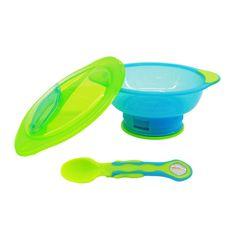 Vital Baby Miska s Přísavkový nohou Unbelievabowl - s víkem a lžičkou - modro-zelená
