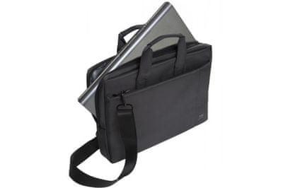 Sodobna torba za prenosnik Rivacase 8231 torba za nošenje 39,6 cm/15,6'' 8231-B Elegantna gladka zasnova narejena iz trpežne tkanine, prostorne oblazinjene notranje stene sprednjiom žepom za mobitelni telefon dvojno zadrgo in enostaven dostop do naramnice nizka teža