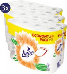 LINTEO WC-papír Economy Pack 3 x 24 tekercs, 3 rétegű, fehér