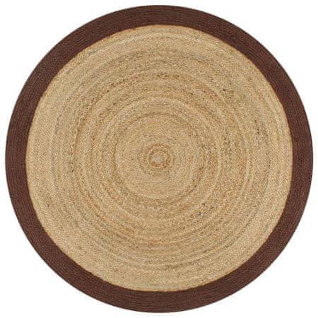 Ręcznie wykonany dywanik, juta, brązowa krawędź, 150 cm