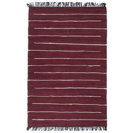 shumee burgundi vörös, kézzel szőtt pamut Chindi szőnyeg 160 x 230 cm
