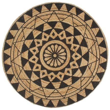 shumee Ręcznie wykonany dywanik, juta, czarny nadruk, 120 cm