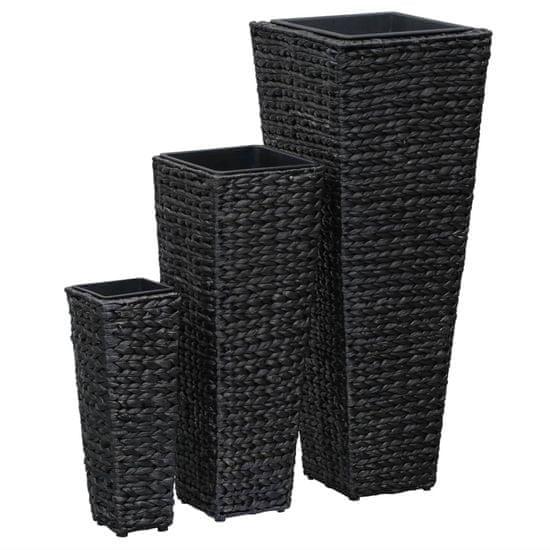 Vidaxl Zahradní vyvýšené záhony 3 ks vodní hyacint černé