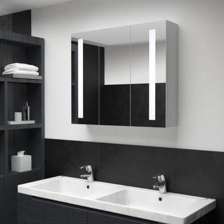 shumee tükrös fürdőszobaszekrény LED világítással 89 x 14 x 62 cm