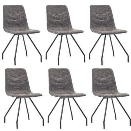 slomart Jedilni stoli 6 kosov temno rjavo umetno usnje
