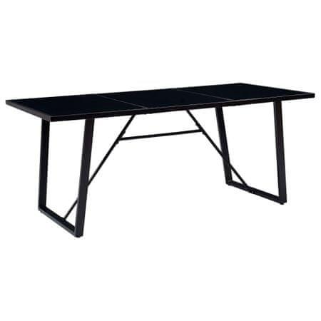 shumee fekete edzett üveg étkezőasztal 180 x 90 x 75 cm