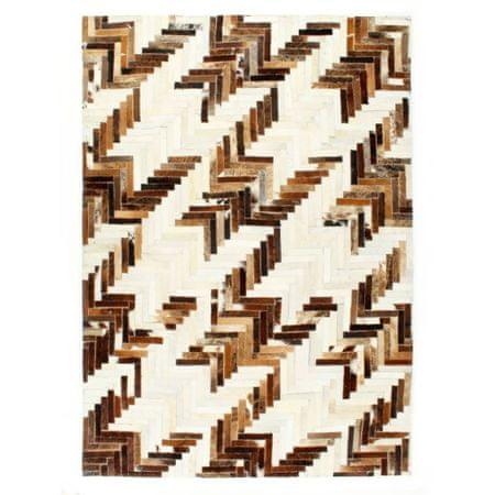shumee barna-fehér foltvarrott valódi szőrös bőrszőnyeg 80 x 150 cm