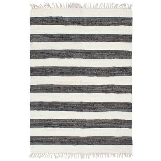 Ručne tkaný koberec Chindi antracitovo-biely 120x170 cm bavlnený