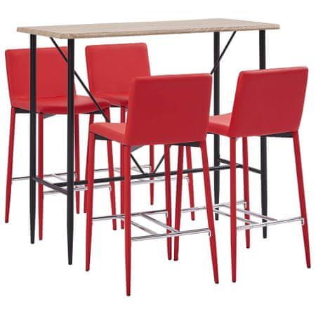 5-częściowy zestaw mebli barowych, sztuczna skóra, czerwony