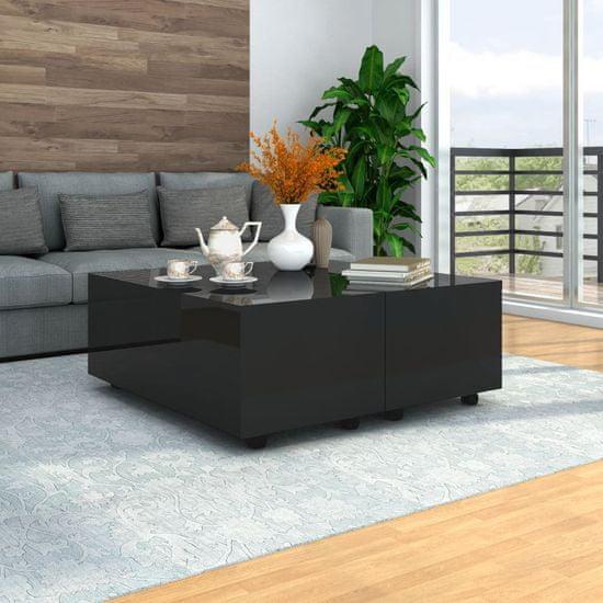 Konferenčný stolík čierny 100x100x35 cm vysoký lesk