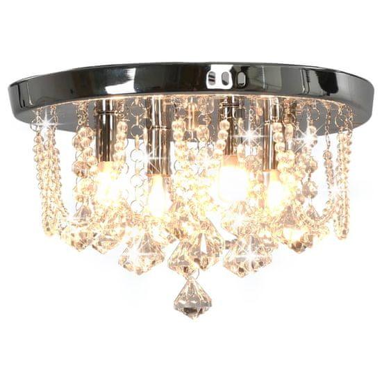 Stropná lampa s kryštálovými korálkami strieborná okrúhla 4 x G9 žiarovky